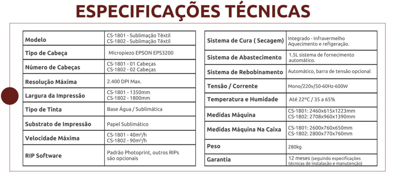 Coltex 1 e Coltex 2 especificacoes tecnicas - Novidades: Impressoras Coltex CS