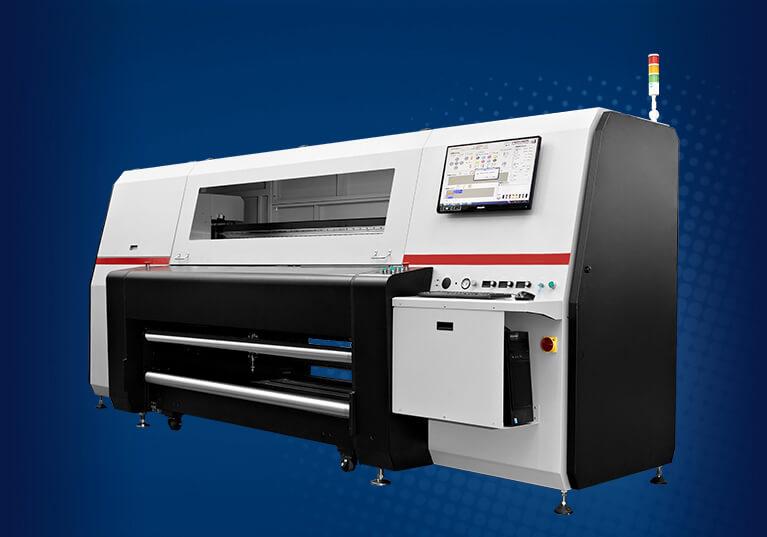 Impressora Homer HR1800R. <br> A impressora industrial rolo-a-rolo que imprime <br> até 320m² por hora.